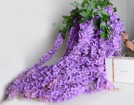 Aliexpress buy 5pcs artificial silk wisteria home garden 5pcs artificial silk wisteria home garden hanging flowers plants 64 purple wisteria wedding vine decor mightylinksfo