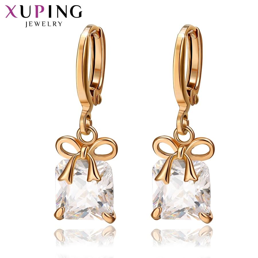 Xuping Elegant Earrings For Women European Style Eardrops Jewelry Gifts Gold Color Plated Hoop Earrings S135,6-98035