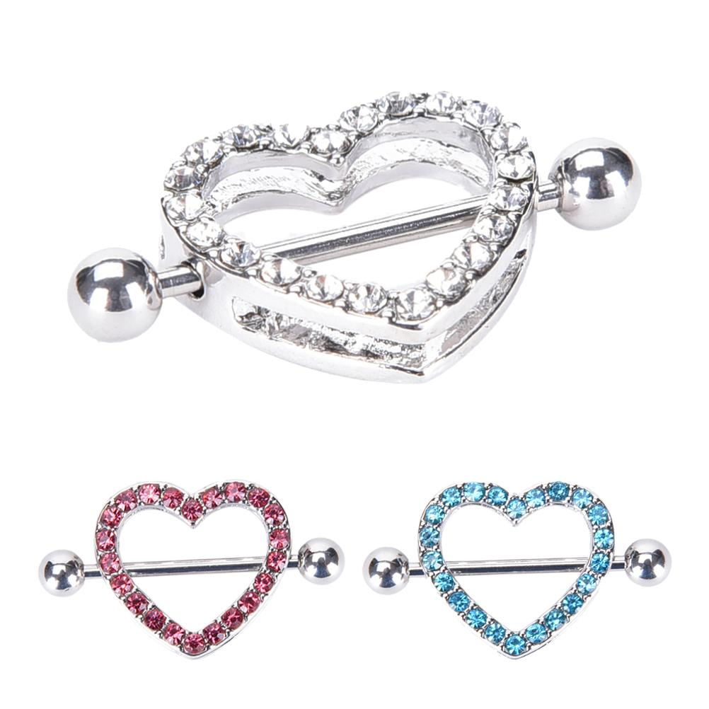 Sexy Crystal Gifts Love Hearts Nipple Bar Rings Heart -7135