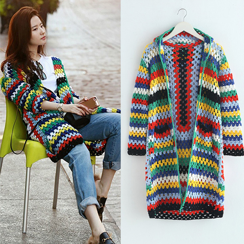 2017 Spring New Rainbow Sweaters Long Sleeve Knitted