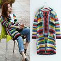 2017 Spring new Rainbow Sweaters long Sleeve Knitted Casual lonog Cardigan women loose knitwear Fashion vogue street style girls