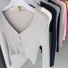 JECH Spring Women Cashmere Wool Cardigans Solid Slim Short Sweaters Sexy Full Sl