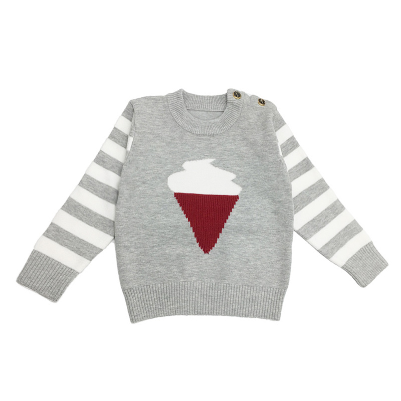 Knit Baby Boys Sweater Solid Cotton Infant Sweater Crew-Neck Baby Clothes With Buttons Toddler Boys Sweater Baby Boys Clothing