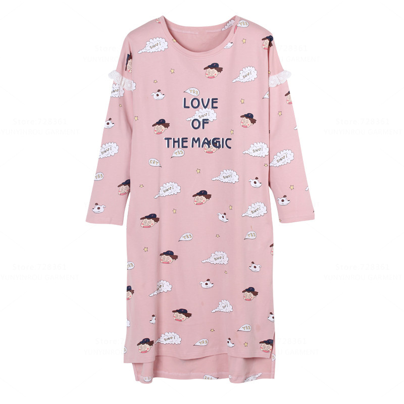 New 100% Cotton   Nightgown   Women Nightdress Cartoon Sleepwear Loose Big   Nightgowns   Pink   Sleepshirts   Dress Lounge Fashion Clothing
