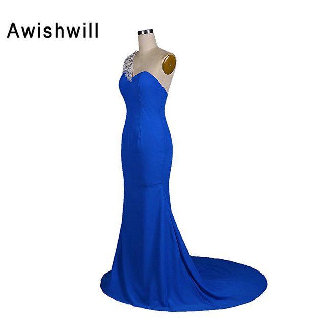 New Arrival One Shoulder Beadigns Royal Blue Long Dress For Wedding Party Evening Gowns Formal Special