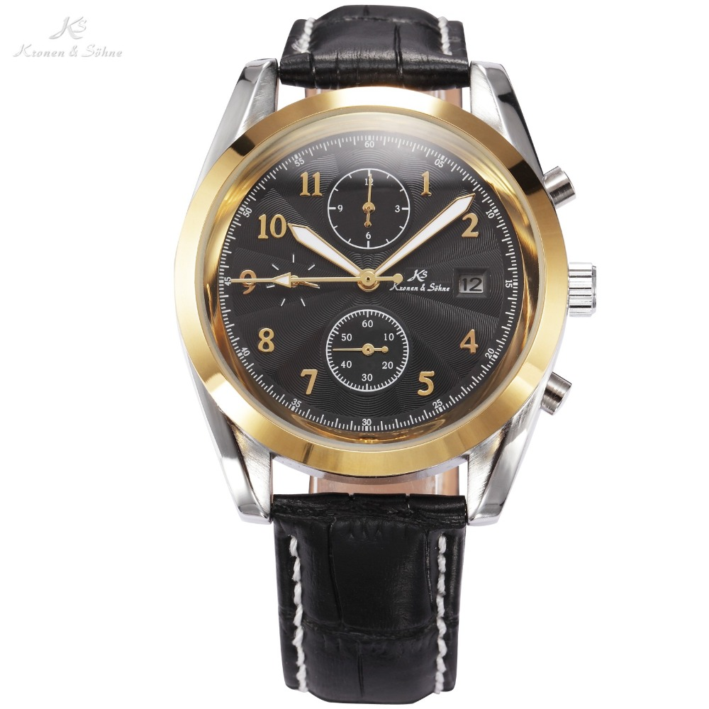 Luxury KS Black Dial Gold Case Date Day Display Analog Leather Strap Male Self Wind Clock Men Automatic Mechanical Watch / KS176 ks luxury automatic self wind date day 24 hours black 3 dial steel strap mechanical wrist watches mens gents timepieces ks307