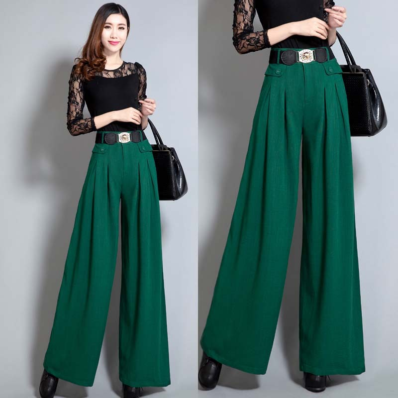 Popular Green High Waist Wide Leg Trousers-Buy Cheap Green High ...