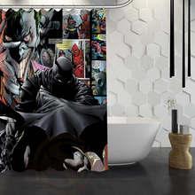 Hot Sale Custom Batman Superman Shower Curtain Waterproof Fabric Bath  Curtain For Bathroom F#Y1