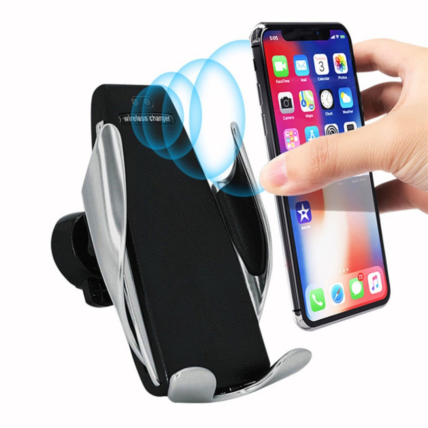 Automatic Clamping Wireless Car Charger Mount,10W Fast chargeing for Samsung All.Infrared Motion Sensor Automatic Open and Clamp for Safe Driving,Car Charger Holder for Apple,Android Smartphones