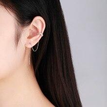 6be861ef97f47b 925 Sterling Silver Zig i łańcuch stadniny klipsy dla kobiet dziewczyny ucha  mankiet biżuteria chrząstki pojawiły się Aretes kol.