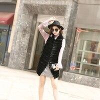 Ladies Otter Stripe Wavy Camisole Long Ladies Fashion Jacket Vest Hooded Fur Vest
