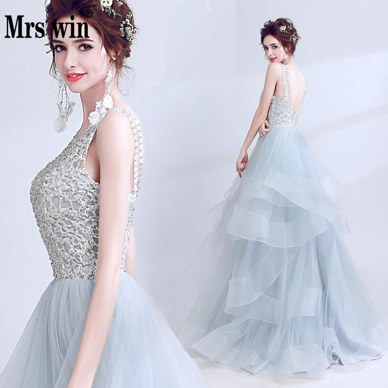 Mrs Win Gorgeous Elegant Evening Dress Slim Sexy Gray Bride Dinner Toast Dress Long Section Banquet