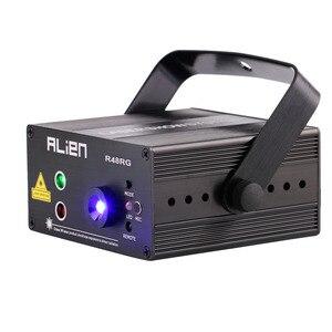 Image 2 - ALIEN RGB Mini 3 Objektiv 48 Muster Mischen Laser Projektor Wirkung Bühne Fernbedienung 3W Blau LED Licht Zeigen DJ disco Party Beleuchtung