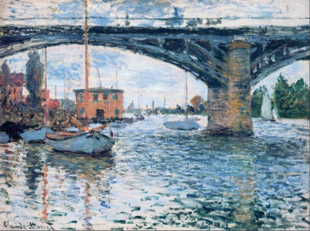 High quality Oil painting Canvas Reproductions The Bridge at Argenteuil, Grey Weather (1874)  By Claude Monet hand paintedHigh quality Oil painting Canvas Reproductions The Bridge at Argenteuil, Grey Weather (1874)  By Claude Monet hand painted