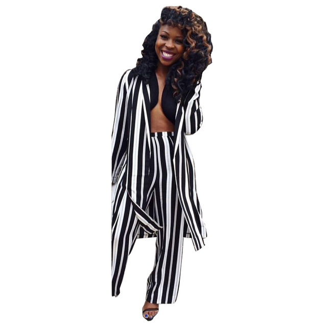 7f88ec0aaf86 Black White Vertical Striped 2 Piece Set Rompers Double Slit Full Sleeve  Long Coat And Wide Leg Pant Jumpsuit Women Plus Size