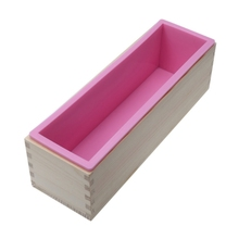 1200G Diy Soap Wooden Mold Box Silicone Liner Rectangular Loaf Swirl Tool Candle Making