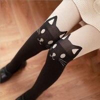 2017 Autum New Women Đen Cat Tail Phim Hoạt Hình Bông Vớ Vớ Giả Màu Da Đáng Yêu Lolita Quần Dễ Thương Harajuku của Cô Gái Pantyhose