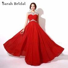 Auf Lager Kleid Red Flügelärmeln Kristall Chiffon Abendkleider Party Kleid 2016 Rückenausschnitt Bodenlangen Lange A Line Abendkleider SD196