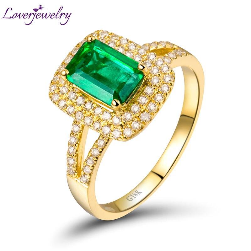 Vintage Anel de Esmeralda Em Ouro Amarelo 18Kt Anel, Casamento Emerald  Completa Cut Diamond Anel de Noivado Esmeralda Corte 5x7mm 6d3dafadcb