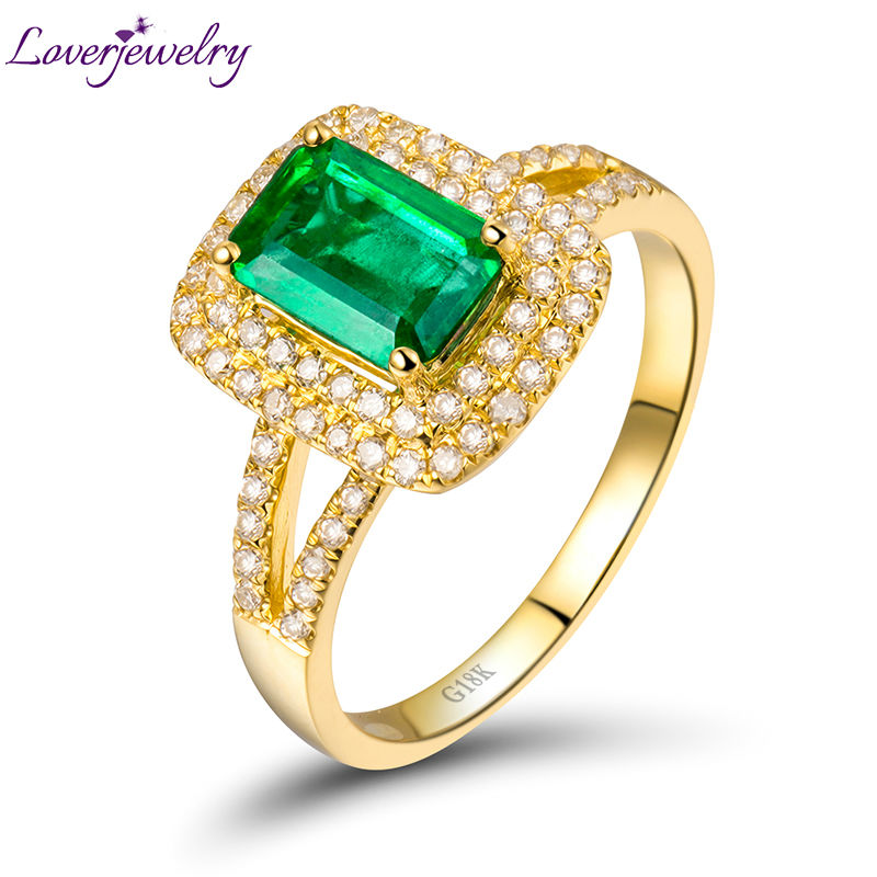 Vintage Emerald Ring 18Kt Yellow Gold Ring Full Cut Diamond Wedding Emerald Engagement Ring Emerald Cut 5x7mm For Women Rings
