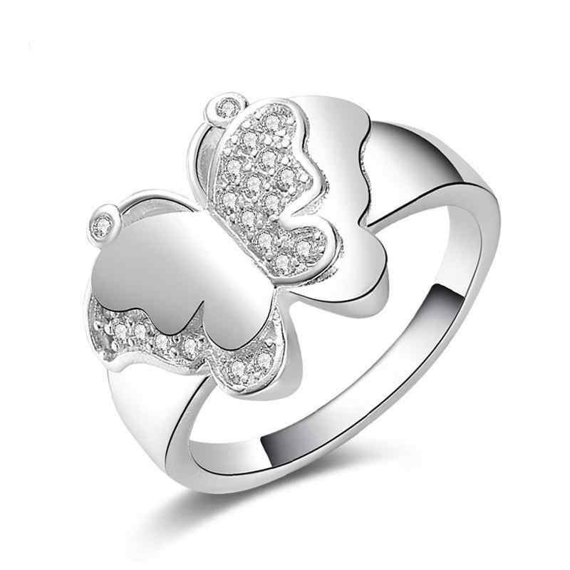 ผีเสื้อขนาดใหญ่แหวน 925 เงินสเตอร์ลิงแหวนผู้หญิงเครื่องประดับ Anel Feminino Anillos Mujer Aneis Bague เครื่องประดับ Anelli Anillo