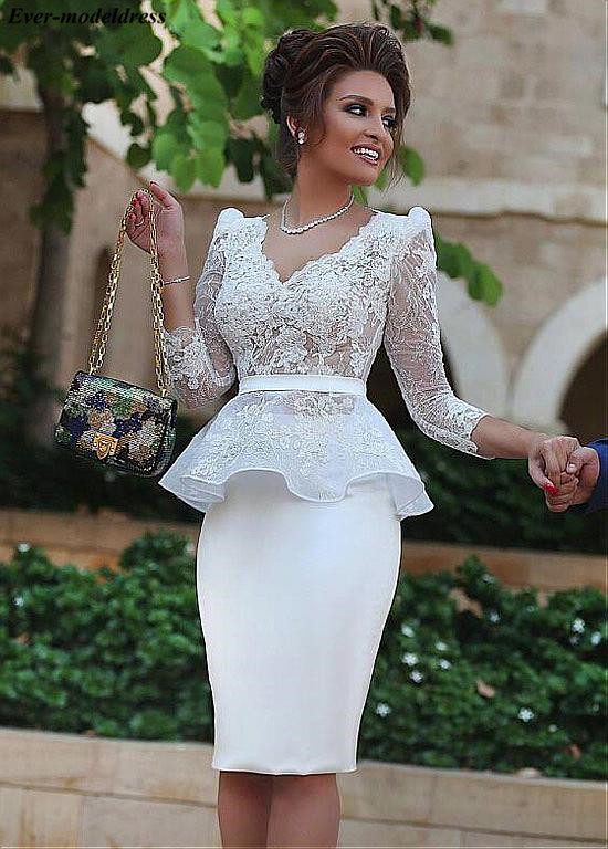 Long Sleeves Mother Of Bride Dresses Short Knee Length Zipper Back Lace Appliques White Wedding Guest Evening Gowns Plus Size