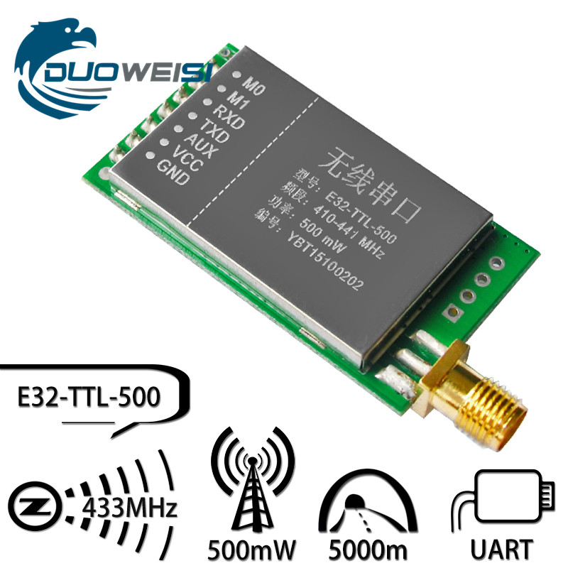 E32-TTL-500 433M wireless serial module | SX1278 / 1276 spreading LORA transparent transmission 5000 m | Arduimo Recommended zigbee to wireless serial transmission module 2 4g cc2530 two way transceiver baud rate adjustable ttl
