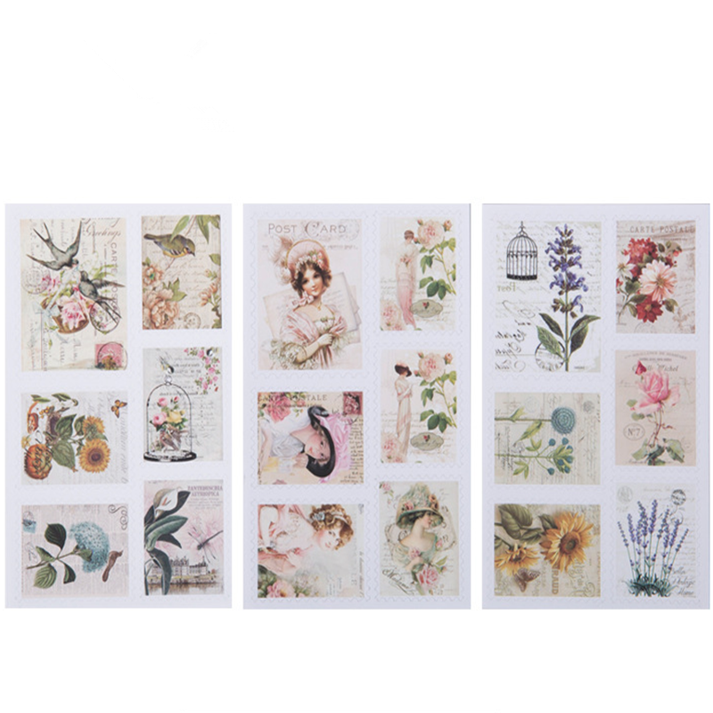 3sheets lot Vintage Pocket Stamps Paper Stickers DIY Dairy Hand Account Sticker Scrapbooking Label Stickers For Album Decoration in Stationery Stickers from Office School Supplies