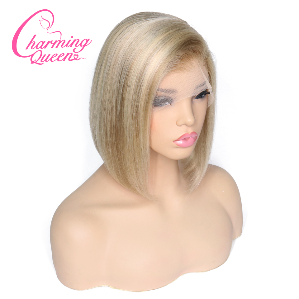 Lace Front Human Hair Wigs For Black Women P18 613 Pre Plucked Straight Brazilian Remy Hair