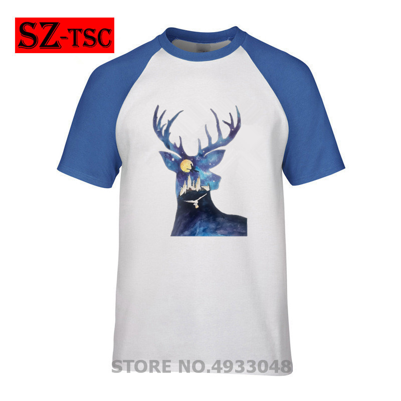 Men T Shirt Deer And Harry To The Galaxy Potter Print T-shirt Casual Breathable Mens Clothing Galaxy Space Tshirt Moon T Shirts