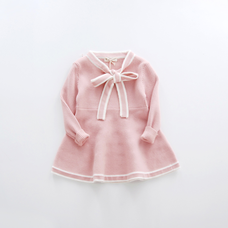 WEONEWORLD 2017 New Kids Sweater Dress Spring Autumn Winter Girls Long Warm Fashion Princess Dress Bow Toddler Girl Clothes  fashion 2017 spring autumn new girls cotton knitting dress hat 2 piece thickening baby girl princess dress winter kids clothes