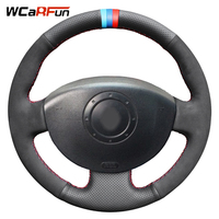 WCaRFun Black Artificial Leather Suede Car Steering Wheel Cover for Renault Scenic 2 2003 2009 Megane 2 2003 2008 Kangoo 2008