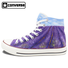 Lavender Original Design Converse All Star Women Men Shoes Custom High Top Purple Sneakers Boys Girls Christmas Weeding Gifts