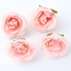Image 5 - 10 ชิ้น/ล็อตประดิษฐ์ดอกไม้ 4 ซม. ผ้าไหมกุหลาบสำหรับงานแต่งงานตกแต่งบ้าน DIY ดอกไม้ scrapbook craft ปลอมดอกไม้