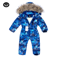 Children Skiing Suit Winter Snowsuit Baby Boys Jumpsuits Clothing Waterproof Down Warm Jacket Girls Siamese 30 Degree 3 8 Years