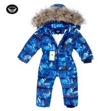 Children Skiing Suit Winter Snowsuit Baby Boys Jumpsuits Clothing Waterproof Down Warm Jacket Girls Siamese -30 Degree 3-8 Years цена в Москве и Питере