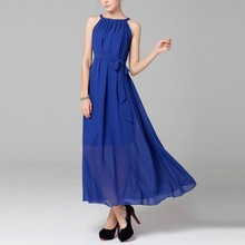 Women Summer Long Evening Party Dress Beach Dresses Sundress Belted 6 Colors Hot Selling