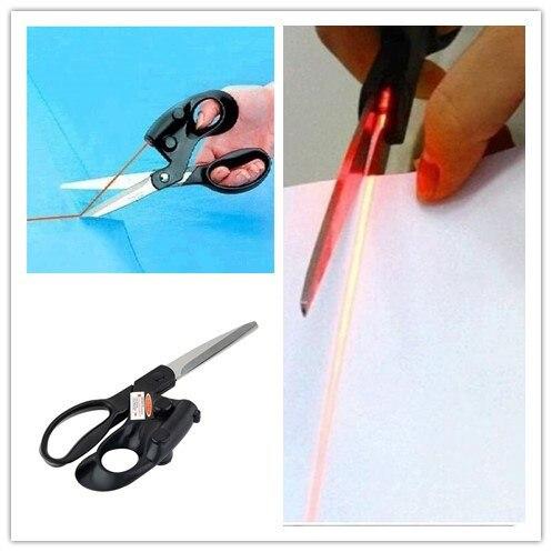 Один профессиональный лазерным наведением Ножницы для домашнего ремесла Упаковка подарков Ткани Вышивание CUT Прямо Быстрый с батареей
