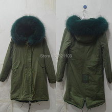 dark green Large raccoon fur collar hooded coat woman outwear, 2016 fashion earmy green outerwear Mrs furs parka