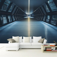 Custom Modern 3 d Non Woven Photo Wall Mural Wallpaper Extension Space Wallpaper Tunnel Background Painting Wallpaper Home Decor