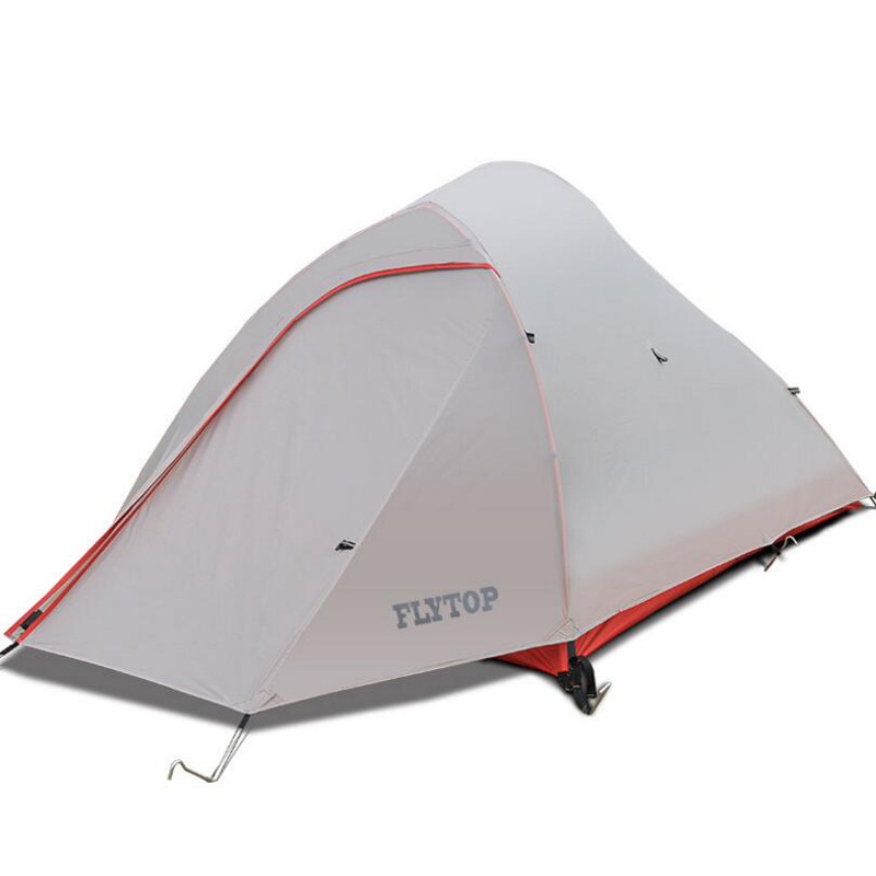 FLYTOP Waterproof Outdoor Tent Ultralight 1- 2 Person 20D Silicone Fabric Double Layers Aluminum Rod Travel Hiking Camping Tents good quality flytop double layer 2 person 4 season aluminum rod outdoor camping tent topwind 2 plus with snow skirt