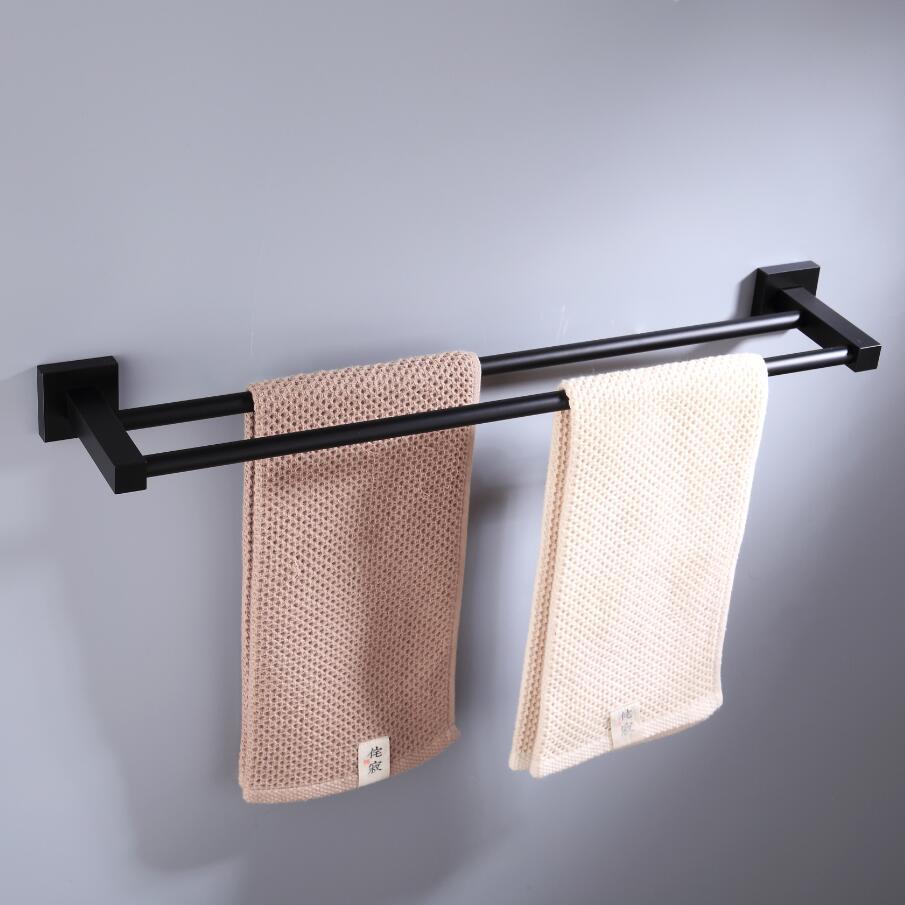 55CM Matte Black Double Towel Bars Bathroom Towel Hanger Space Aluminum Bathroom Accessories Towel Rack Towel Ring  Toilet Brush 6