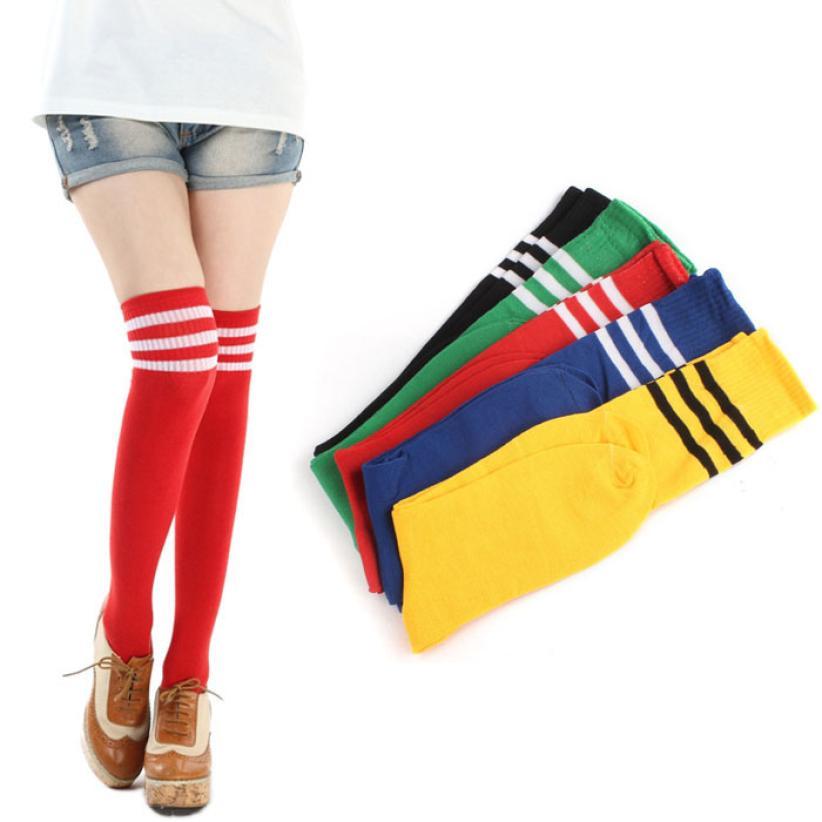Socks new 1 Pair thigh high socks Striped Over Knee Girls Cheerleader long socks women over knee stripe july10 hockey sock