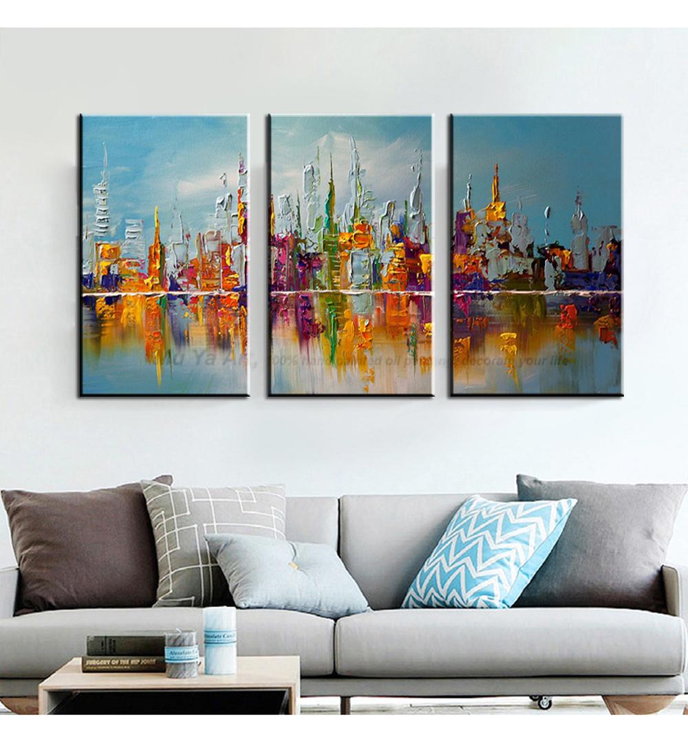 3 panel wandkunst abstrakte handgemachte New York city kunst Messer ...