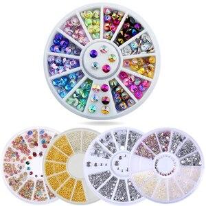 Nail Rhinestones 3D Nail Art Decorations hinning Sharp Flat Bottom Studs Nail Decor For UV Gel Polish Manicure In Wheel