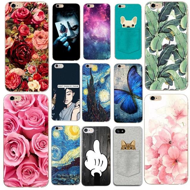 Cho Funda iPhone X 5 5S 6 6 S 7 8 Plus Siêu Mỏng Mềm Mại Cây Hoa Hồng NGHỆ THUẬT Dễ Thương Cho Bao Da iPhone x 5SE