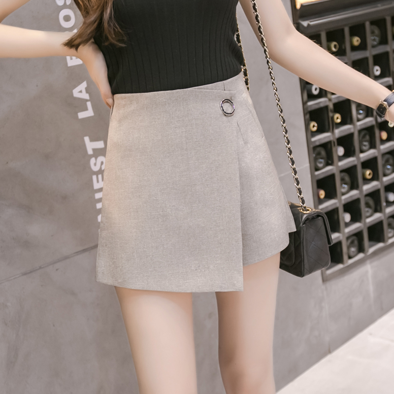 Azterumi Spring Summer New 2019 Women Fashion High Waist   Shorts   Skirts Women Loose Formal Work Wear Mini Skirt Black Gray Khaki