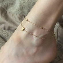 Heart Anklet Bracelet Barefoot Crochet Sandals Foot Jewellery Leg Chain Anklets For Women Halhal Tobilleras Pulsera Para Joyas(China)