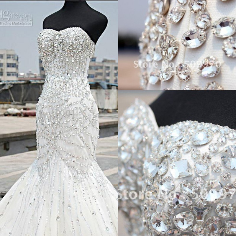 2017 Luxury Crystal Wedding Dress Real Photo Mermaid