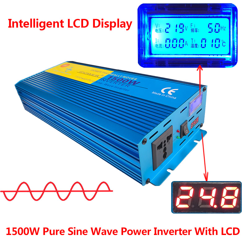 Digital Display PURE SINE WAVE POWER INVERTER 1500W 3000W MAX DC 24V To AC 220V CAMPING